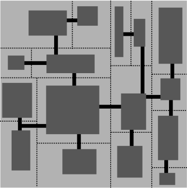 A simple roguelike dungeon of 16 rooms, with passageways between them and dotted lines indicating the original subdivisions.